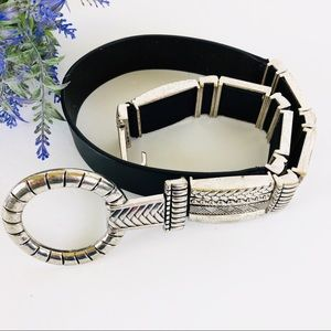 Chico's black leather belt with silver buckle